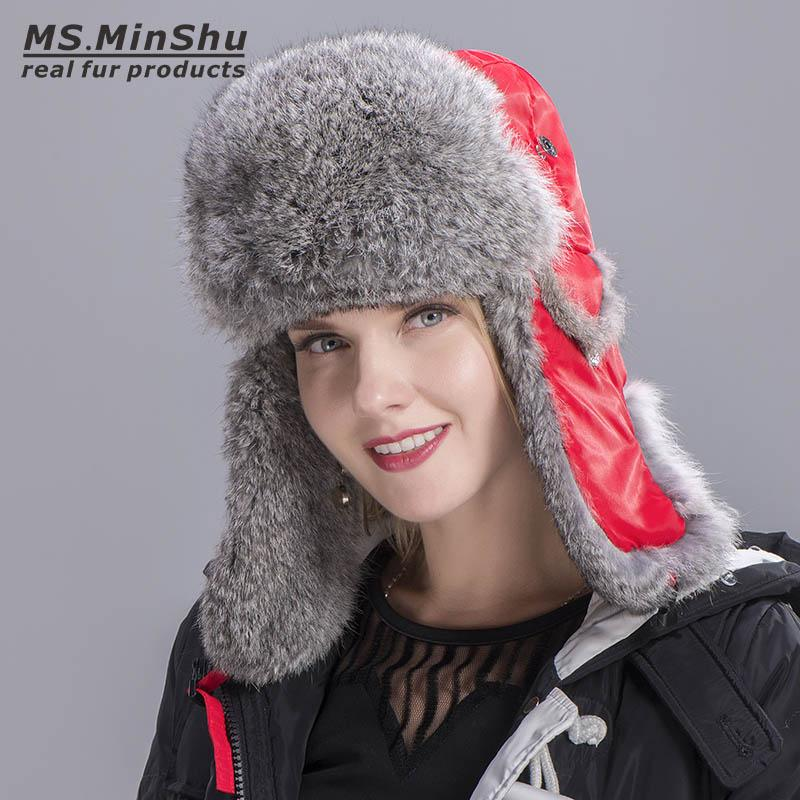 dfd8454bc6d Russian Rabbit Fur Hat Natural Rabbit Fur Trapper Hat Skiing Cap Winter  Warm Earflap Hat Genuine Rabbit Fur Bomber Caps MS.MinShu Russian Rabbit  Fur Hat Fur ...