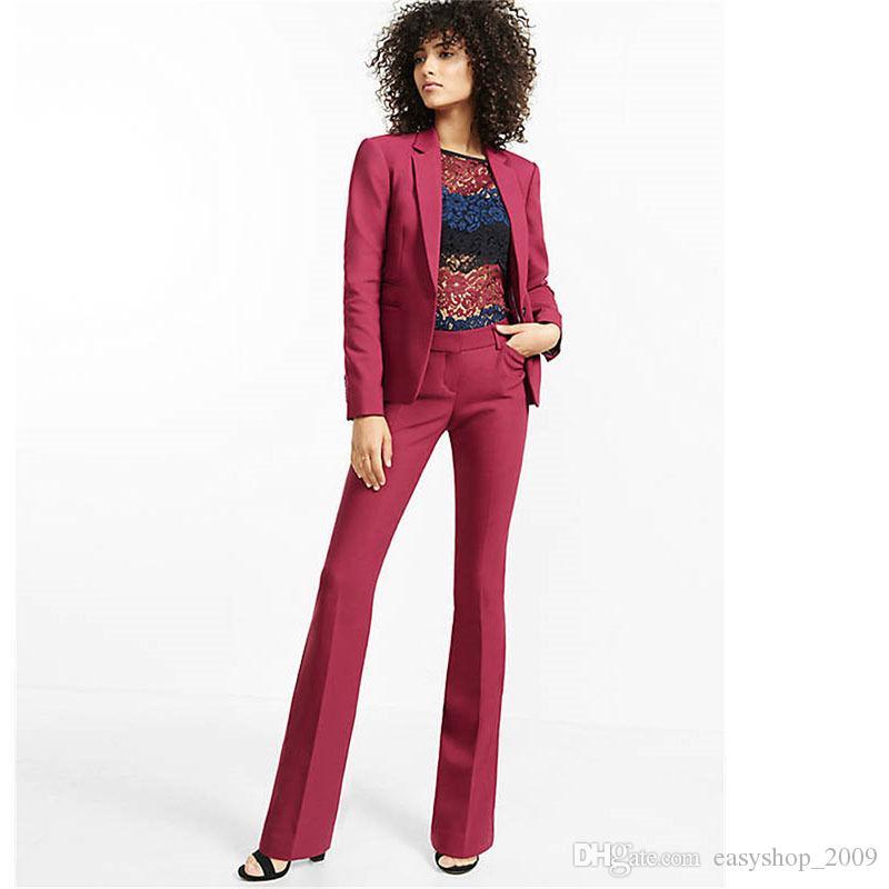 bb9143831 Compre Traje De Pantalón Borgoña Para Mujer Slim Fit Traje De Negocios  Femenino Para Mujer Smoking 2 Piezas Abrigo + Pantalón Por Encargo A  98.35  Del ...