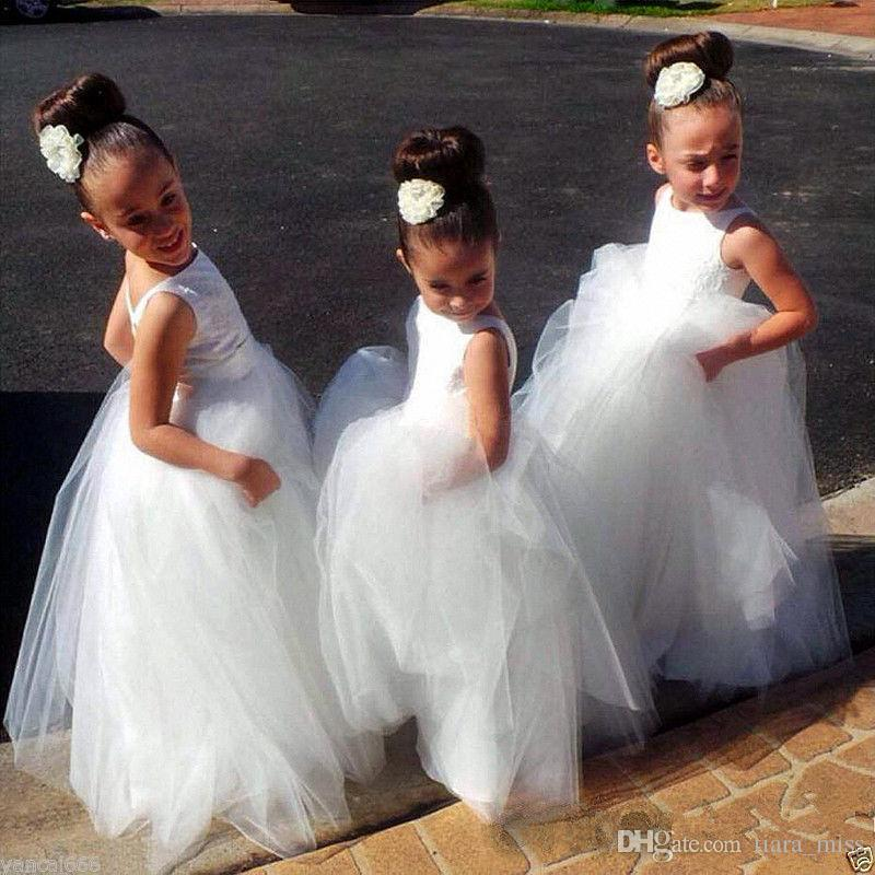 New Arrival Ball Gown Flower Girl Dress Sleevess High Neck Princess Pageant Girl Dress For Wedding Wholesale