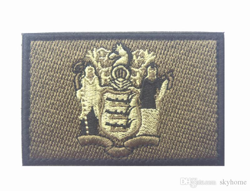 50 STÜCKE Gestickte Patches Vereinigten Staaten Zustand Flag Patch Taktische 3D Nationalflaggen New Jersey State Flag Armbinde Abzeichen