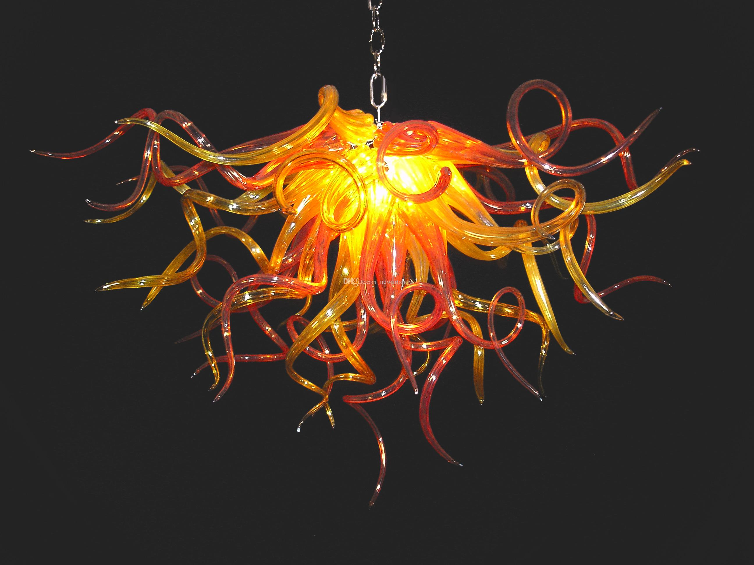 Chandeliers High Ceiling Best Murano Chandelier Fashion Crystal Ceiling 110v-240v Led Bulbs Amber Color High Quality