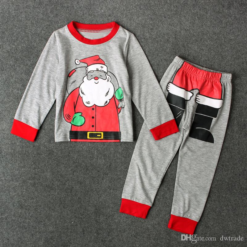 Children Christmas Santa Claus Outfits Cartoon Letter Printing with Pants Set Xmas Baby Suits Kids Clothing