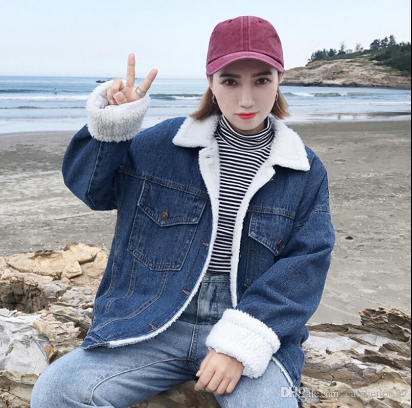 2018 nuova giacca autunno e inverno abbigliamento donna retrò agnello risvolto cappotto denim allentato spesso velluto a maniche lunghe moda cappotti casuali giacca
