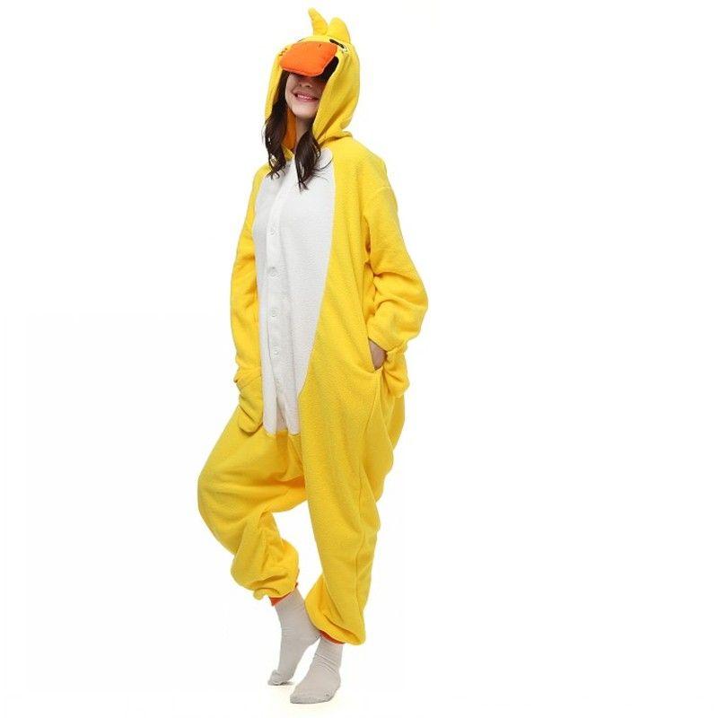 Halloween Party Costume cute Lovely Yellow Duck Onesie Pajamas Costume Unisex Adult One-piece Sleepwear Onesie Tops Party Cartoon jumpsuit