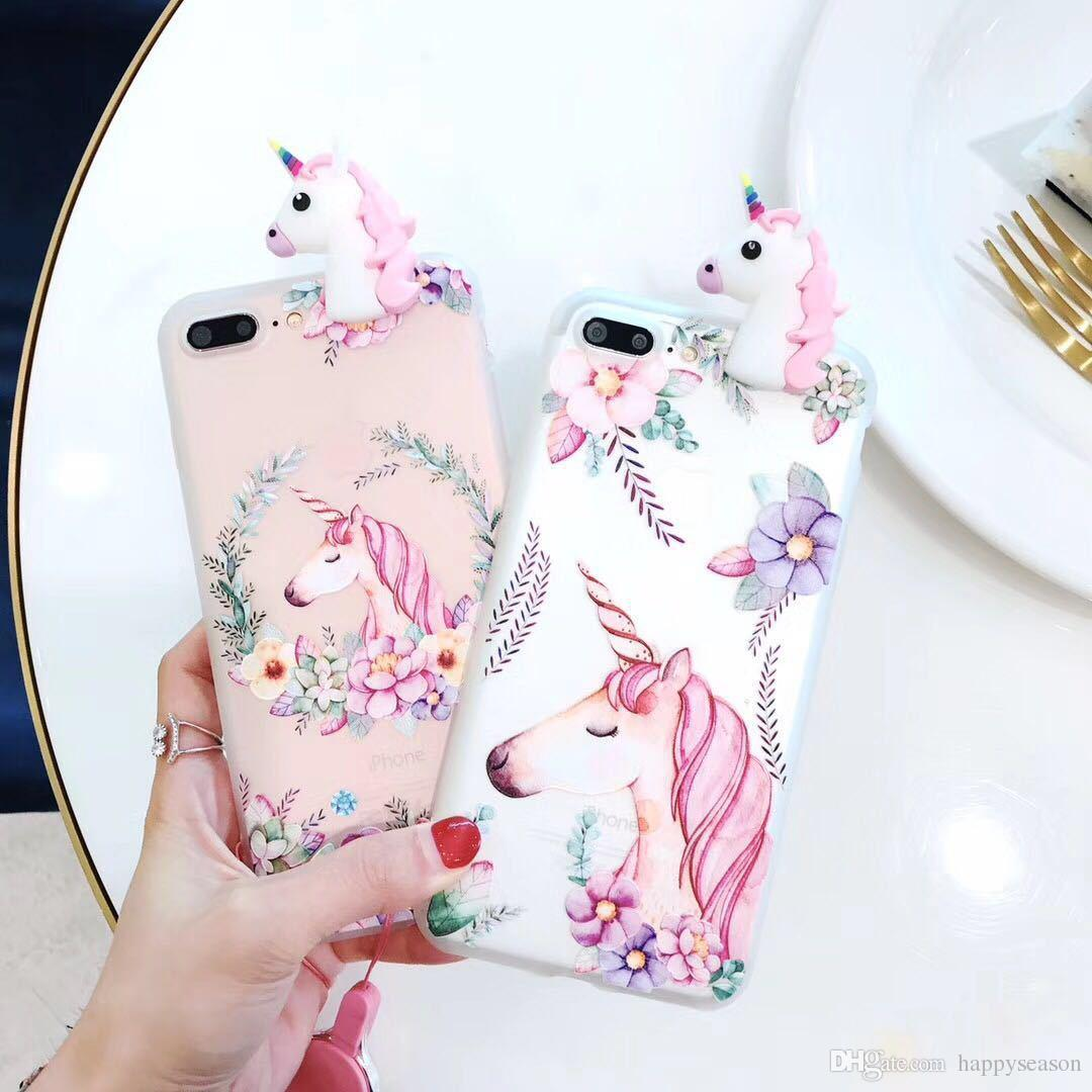 info for e6946 a20ac Cute Unicorn 3D Phone Case for iPhone X 8 7 6s 5 Silicone Back Cover  Protective