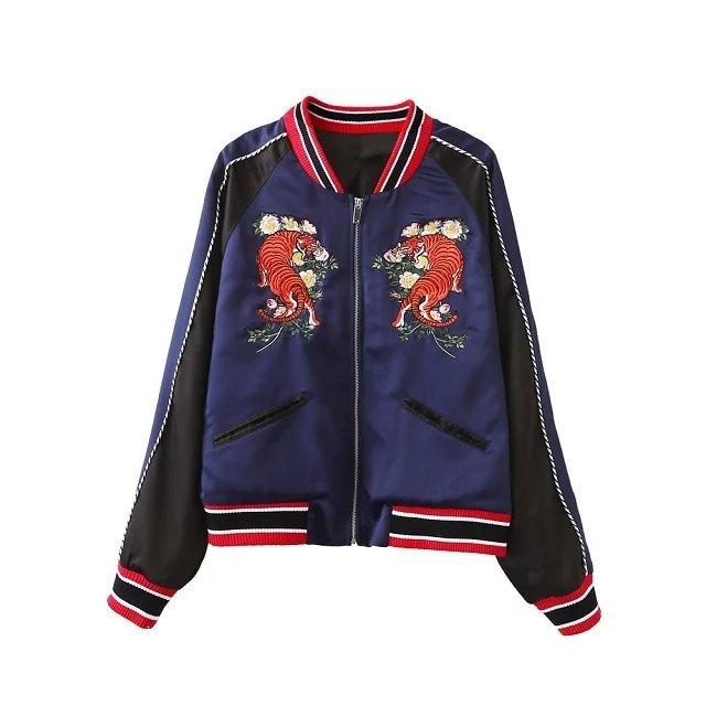 The Tiger Pattern Bomber Jacket European Style Fashion Embroidery ...