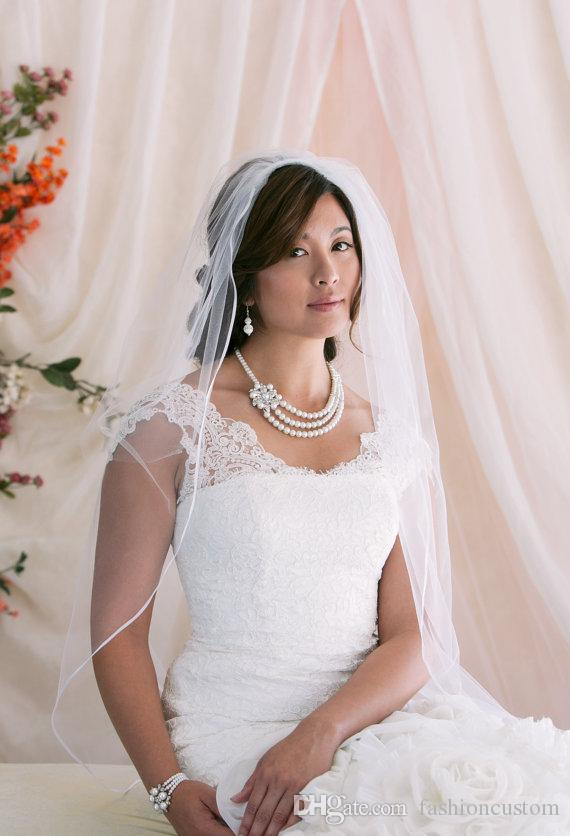 one layer wedding Veil Ribbon Edge Bridal Veil White Ivory Champagne Fingertip Length with comb tulle 196a