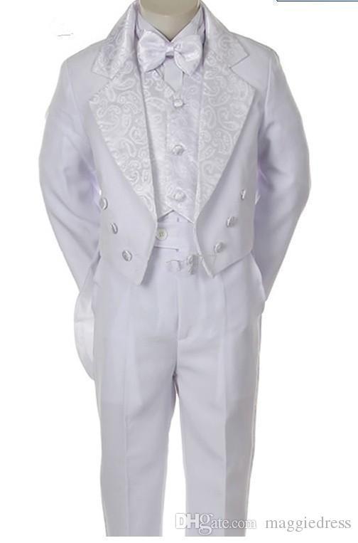 Smoking smoking branco para meninos Double Breasted entalhado lapela pouco Mens ternos Ocasião Especial Crianças Roupas Jacket + Pants + Vest + arco