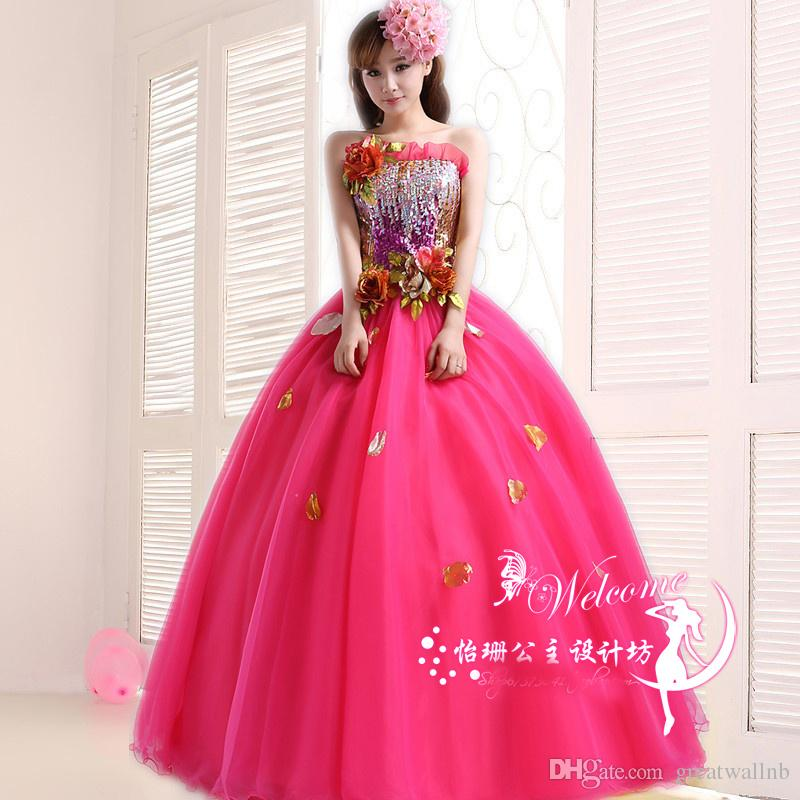 032fa7541b Free ship hot pink sequined golden embroidery petals ball gown royal  Medieval Renaissance Gown queen princess Victorian dress Belle ball