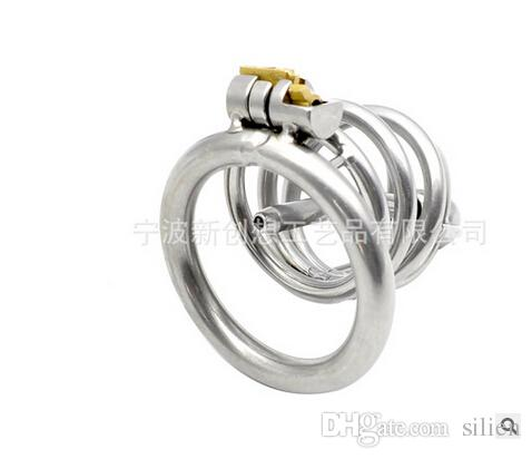 Latest Design Male Chastity Cock Cage Sex Slave Penis Lock Anti-Erection Device With Removable Urethral Sounding Catheter Shortest Sex Toy