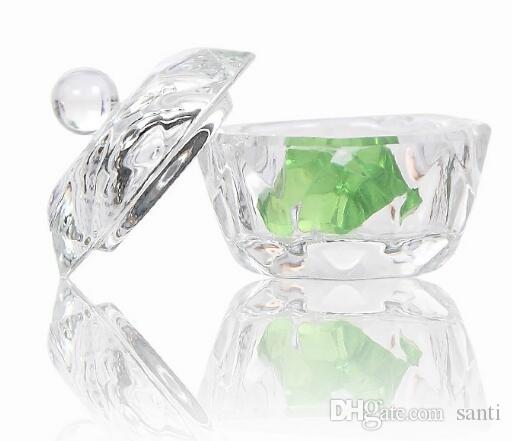 Beleza Acrílico Cristal Dappen Prato Taça Tigela com Cap Líquido Glitter Em Pó Caviar Nail art ferramenta rodada