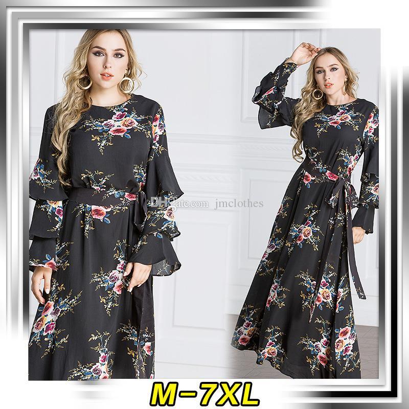 2018 M 7xl Plus Size Chiffon Dresses For Womens Muslim Clothing