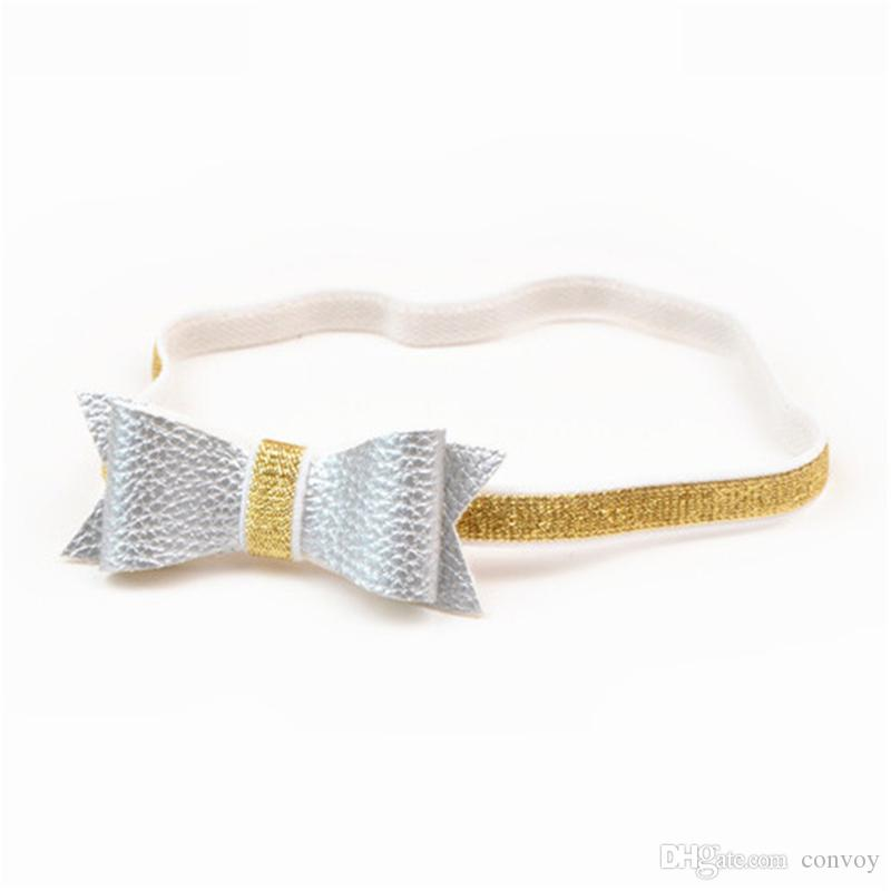 Baby Girls Sparkle Leather Headbands with Gold Powder Bands Kids Bowknot Hairbands baby boutique hair accessories Children Headwear KHA209