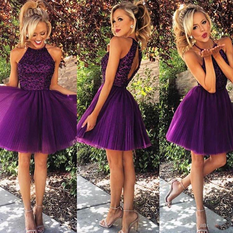 2016 Short Purple Tulle Homecoming Dresses for Summer 8th Grade Dance Back to School Sweet Sixteen Graduation Teens Beaded Ball Prom Gowns