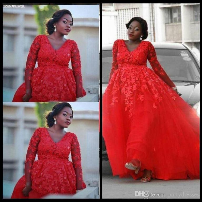 Großhandel Afrikanische Kleid Rot Plus Größe Brautkleider Mit Langen ...