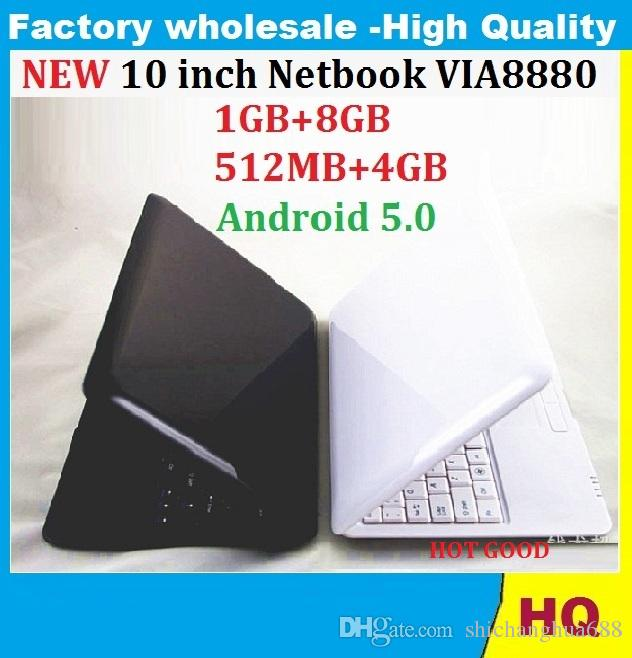 5PCS 10 inch Netbook VIA8880 Dual Core UMPC Android 5.0 1.5GHz Wifi 512MB RAM 4GB HDD Camera Mini Laptop dhl free
