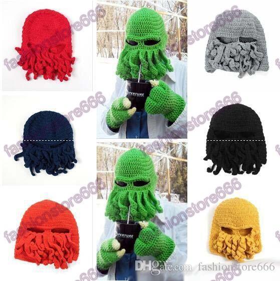 119e27e3ecc Winter Octopus Hats Novelty Handmade Knitting Wool Funny Beard Caps Crochet  Knight Beanies For Men Women Christmas Gift Mens Beanies Custom Beanies  From ...