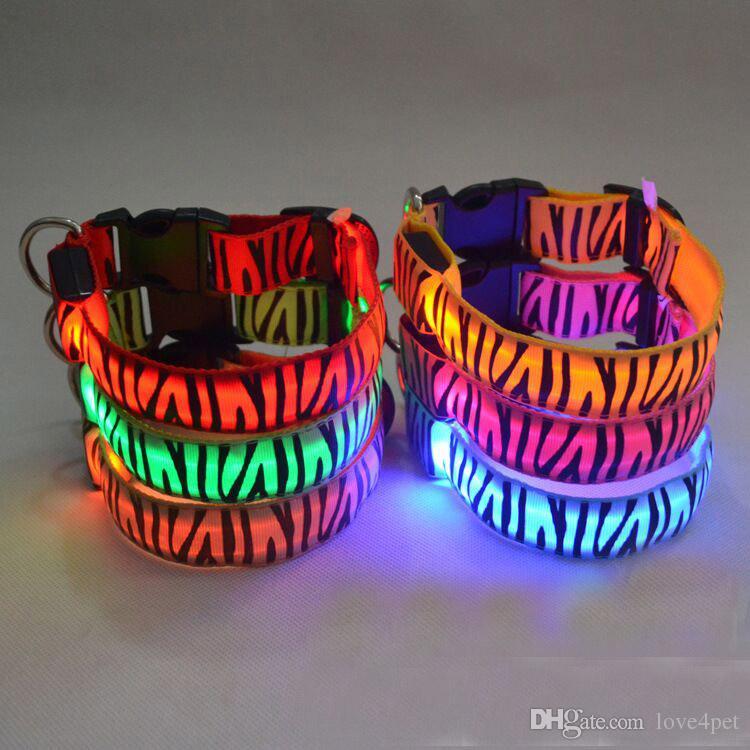 D27 новый Pet ошейник LED нейлон светоизлучающих ошейники собака Леопард ошейники зоотовары бесплатная доставка