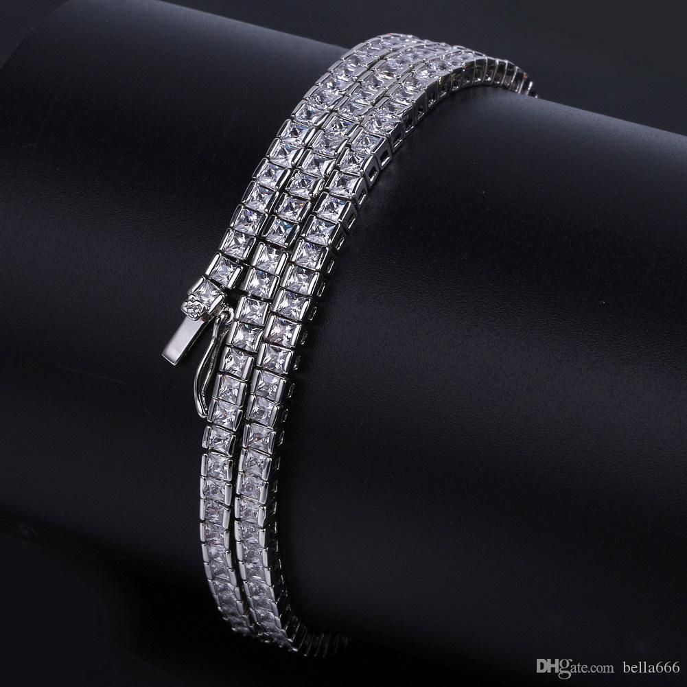 4mm Square Cubic Zirconia Tennis Link Chain 1 row Hip Hop Paved Full Blingbling CZ Clasp Necklace Top Grade Men Women Jewelry New arrival