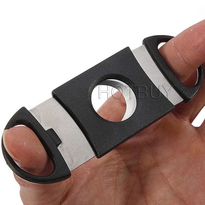 Cep Plastik Paslanmaz Çelik Çift Bıçakları Puro Kesici Bıçak Makas Tütün Siyah Yeni # 2780