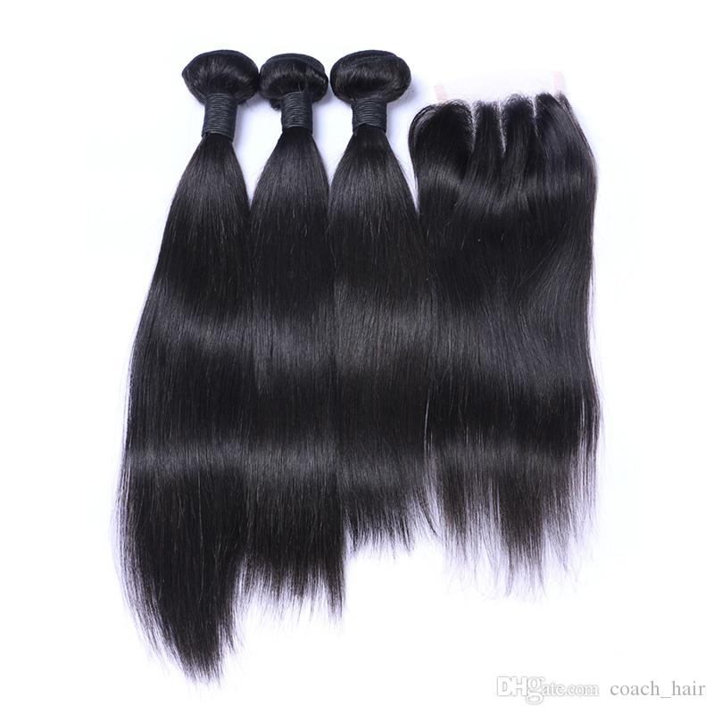 8A Brazilian Straight Hair 3 Bundles With 3 Part Lace Closure Straight Human Hair Weaves With Top Closure