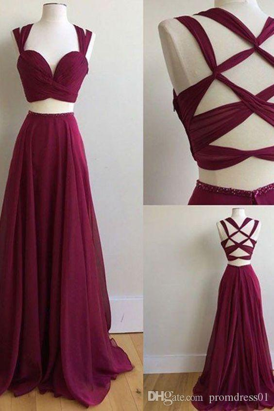 59a4bffb345 Elegant Sexy Two Piece Chiffon Long Prom Dresses Criss Cross Evening Gowns  for Women Under 100 Burgundy Prom Dresses Criss Cross Prom Dresses Long Prom  ...