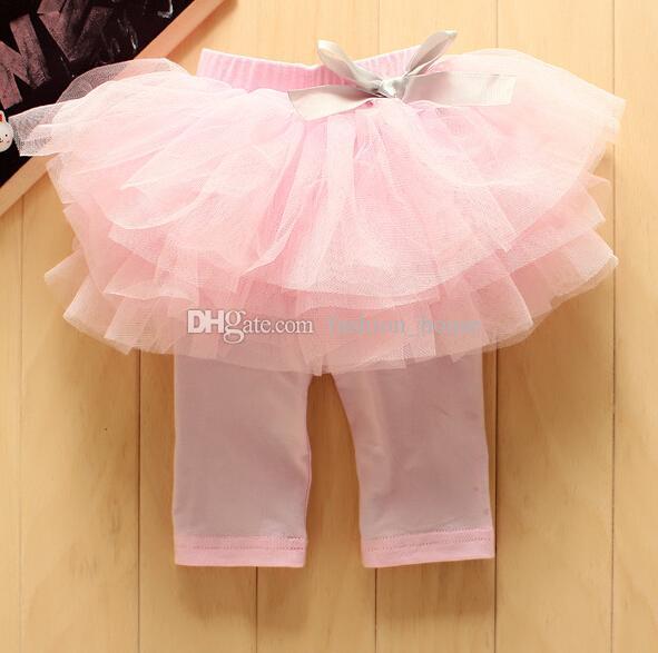 Baby Girl's Summer TUTU Skirt Short Pants Kids Cute Bow Gauze Cake Middle Leggings Pant Blue Pink Yellow children candy leggings