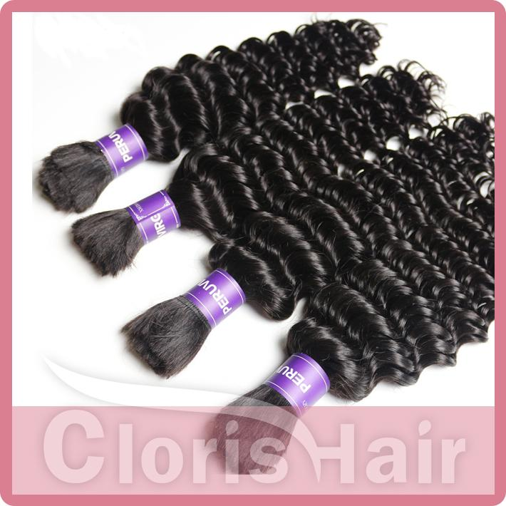 Deep Wave Malaysian Bulk Human Hair For Extensions No Weft Soft Curly Braiding Hair Weave Bundles Unprocessed Braiding Hair In Bulk