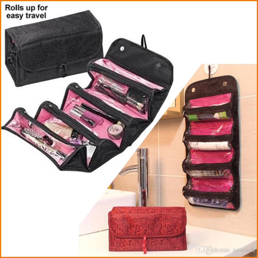 2018 Roll N Go Cosmetic Tool Bag Roll Up Bathroom Organizer Makeup