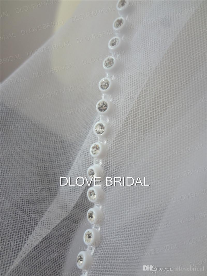 One Layer Wedding Bridal Veil White Ivory Fingertip Length Crystal Beaded With Comb Factory Real Picture Drop Ship