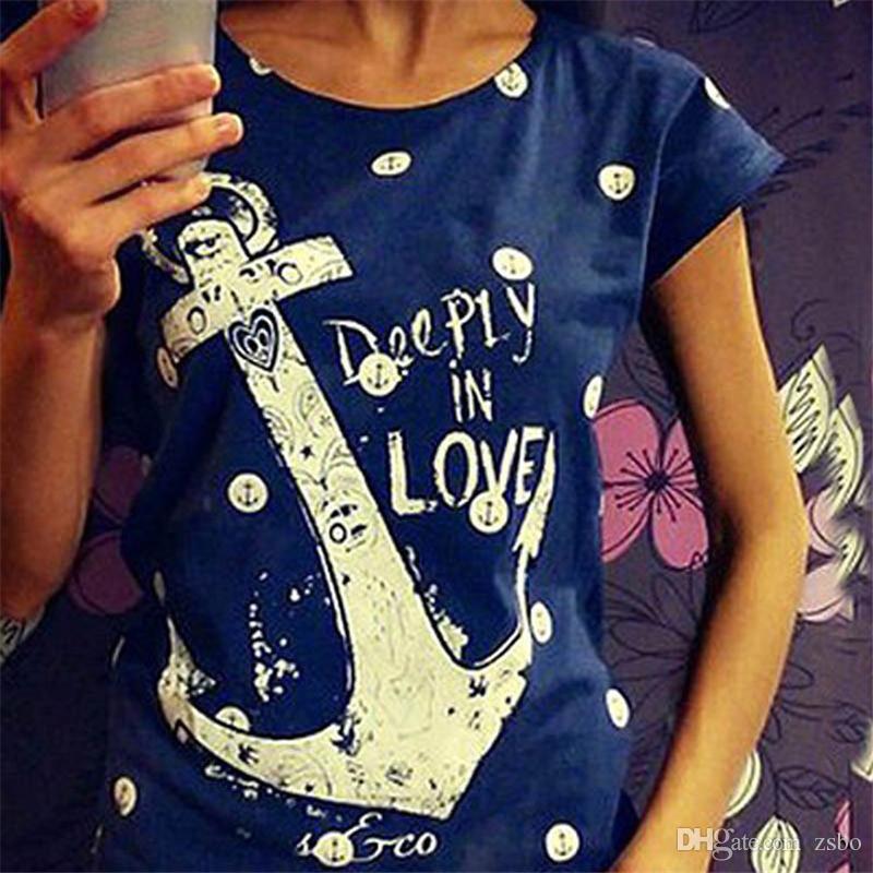 Moda Kadınlar için Sıcak T Shirt Geminin Çapa Baskı T-Shirt Donanma Sailor Kısa Kollu Artı Boyutu Femininas Tees Tshirt NV07 RF