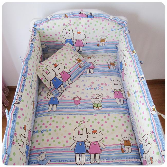 Promotion! baby cot bedding set Crib Set bed linen 100% cotton bumpers+sheet+pillow cover