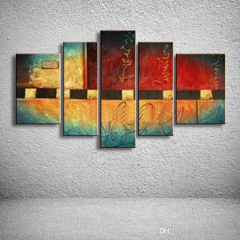 Abstract Colorful Geometric Oil Painting On Canvas Handpainted Graffiti Line Acrylic Paintings Home Decor Art 5 Panel Pictures