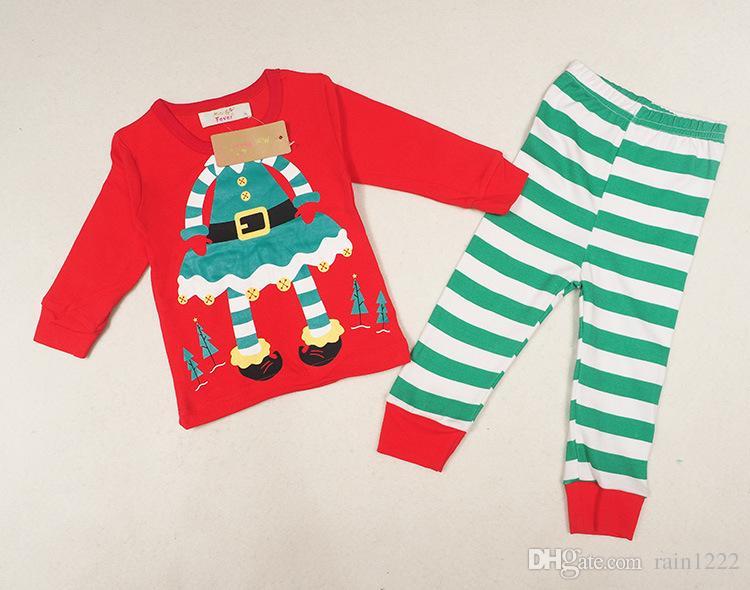 2017 Christmas Pajamas Sleepwear Sets Kids Xmas Striped Night Wear Clothing Little Girls Boys Cotton Long Sleeve Clothes Pajamas For 1-5T