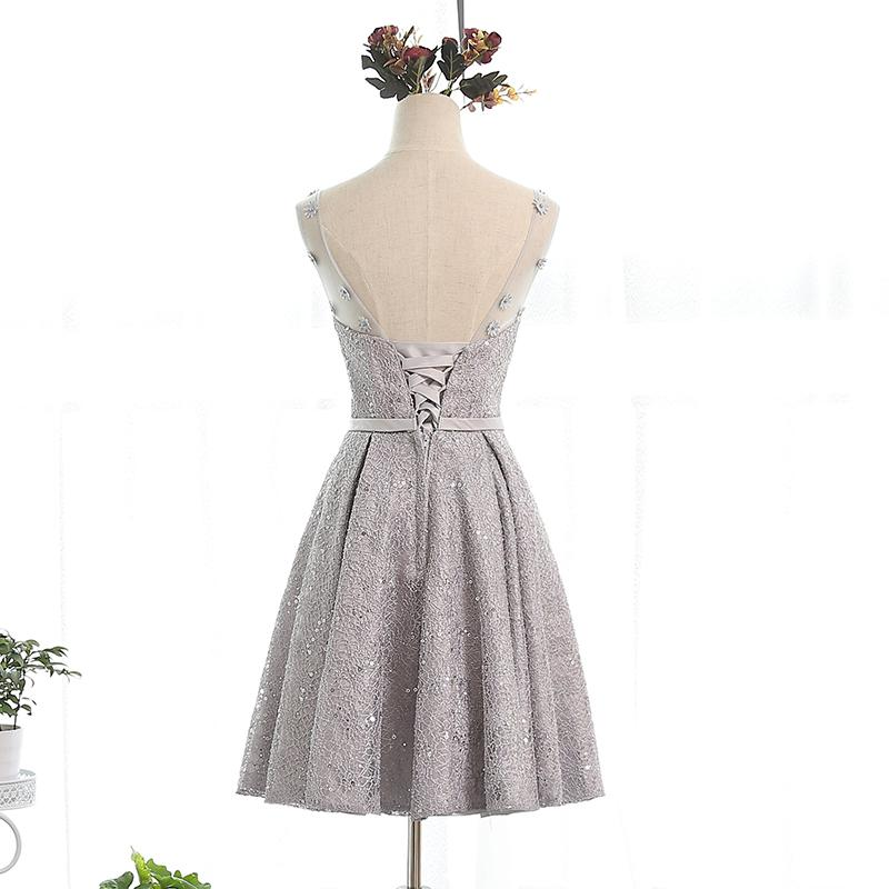 Scoop Neck Lace Short Cocktail Dresses With Bow Knee Length Party Dress Lace Up Fast Shipping