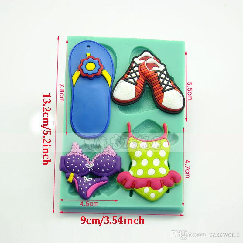 Plage série pantoufles maillot de bain silicone moule argile moule pâtisserie fondant moule en relief moule un gateau pour enfant
