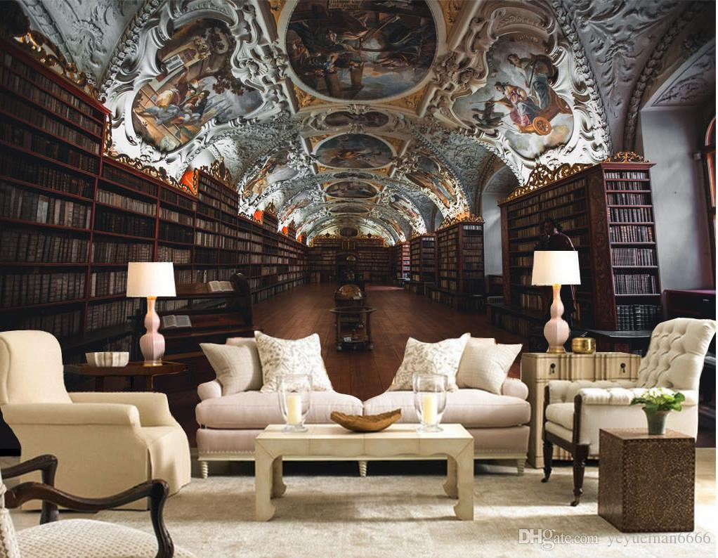 Acheter Style Europeen Bibliotheque Ancienne Papier Peint Photo Pour