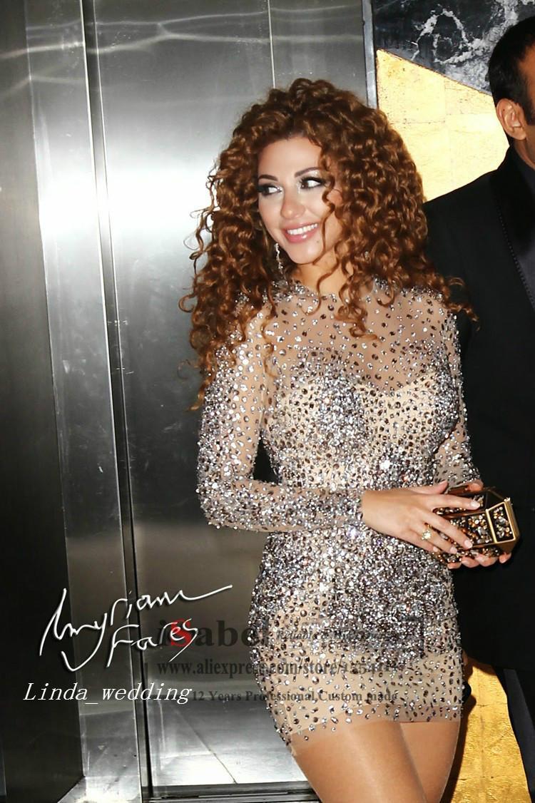 Líbano Myriam Fares Que Bling Vestido de Cocktail Glitter Manga Longa Frisado Curto Formal Vestido de Festa Celebridade-Inspirado Vestido