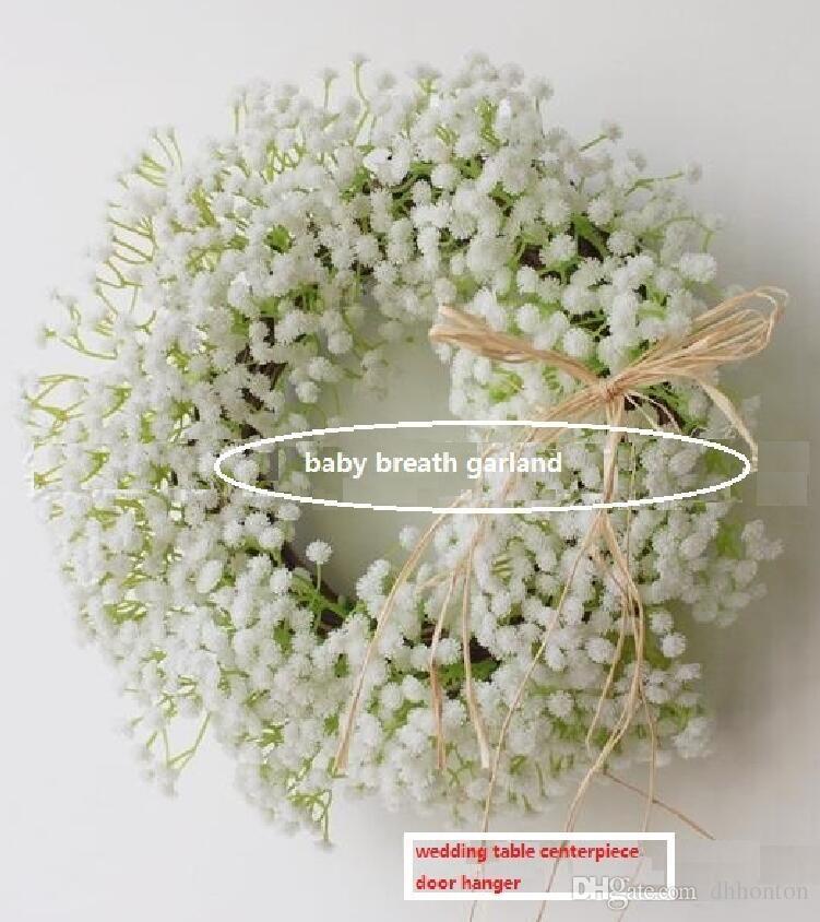 Gypsophila White Baby's Breath ghirlande decorazione di nozze corona diametro interno circa 15 cm Diametro esterno circa 30 cm Decorazione di cerimonia nuziale PF14