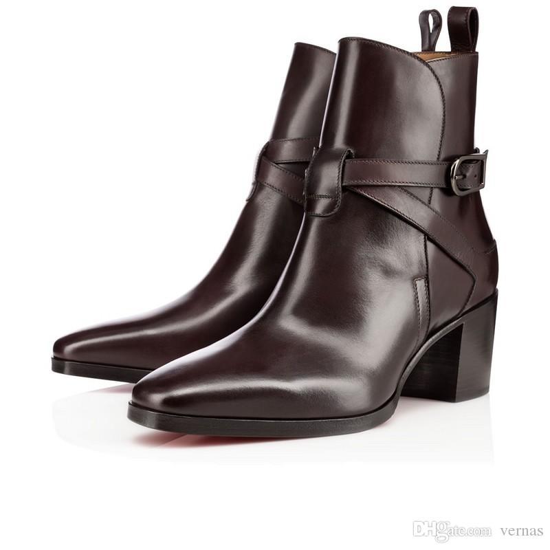 Moda Kadınlar Kırmızı Alt Çizmeler Hakiki Deri Ayak Bileği Çizmeler Kadınlar Için Düz Parti Elbise Kış Lüks Tasarımcı Ayakkabı Siyah, kahverengi Boyutu 35-43