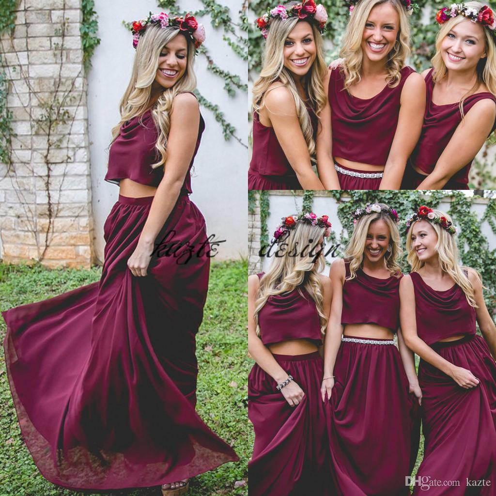 6bebc365889 Burgundy Wine Red Two Pieces Country Long Bridesmaid Dresses 2018 Custom  Plus Size Crop Top Junior Maid Of Honor Wedding Guest Holiday Dress Kelsey  Rose ...