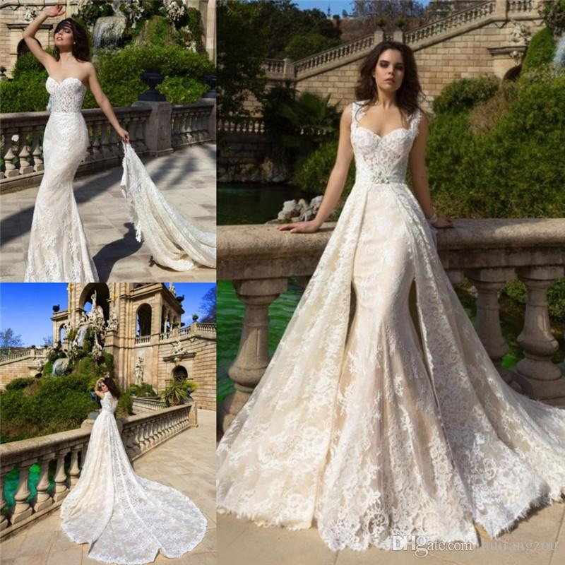 Bridal Dress With Detachable Train: 2018 Vintage Mermaid Wedding Dresses Sweetheart Neckline