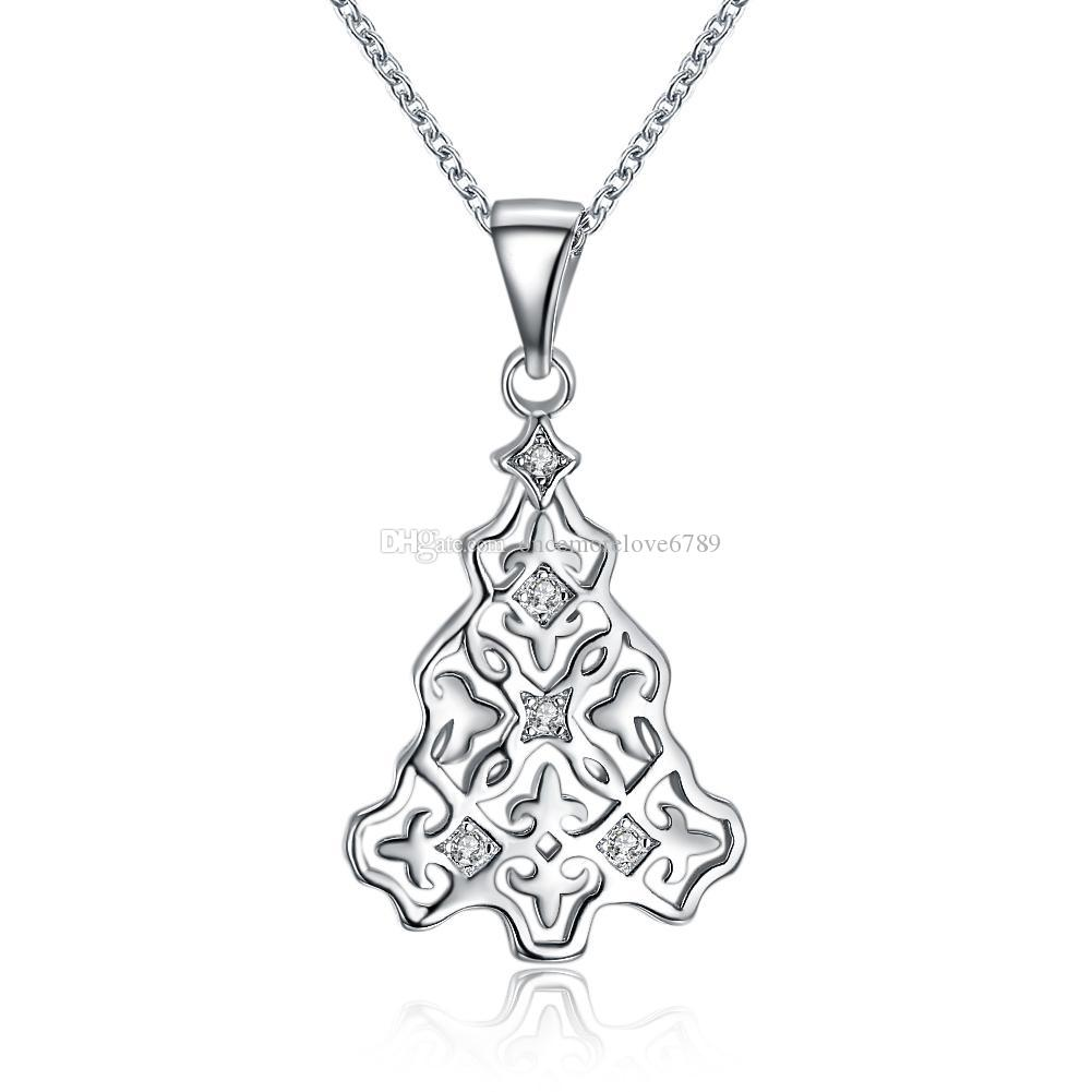 Christmas Series Zircon Necklace Two-color Rose Gold Platinum Christmas Tree Star Fashion Necklace Women Girl Xmas Jewelry Party Gifts
