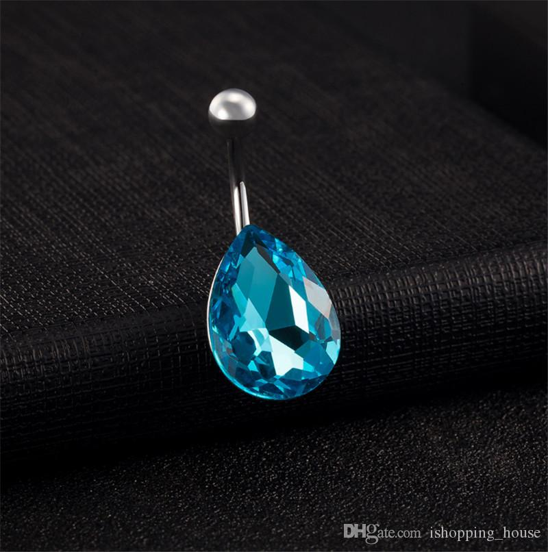 Summer Style New Arrival Body Piercing Button Ring Blue Water Drop Navel Belly Button Rings Dangling Navel Piercing Belly Ring BR-084