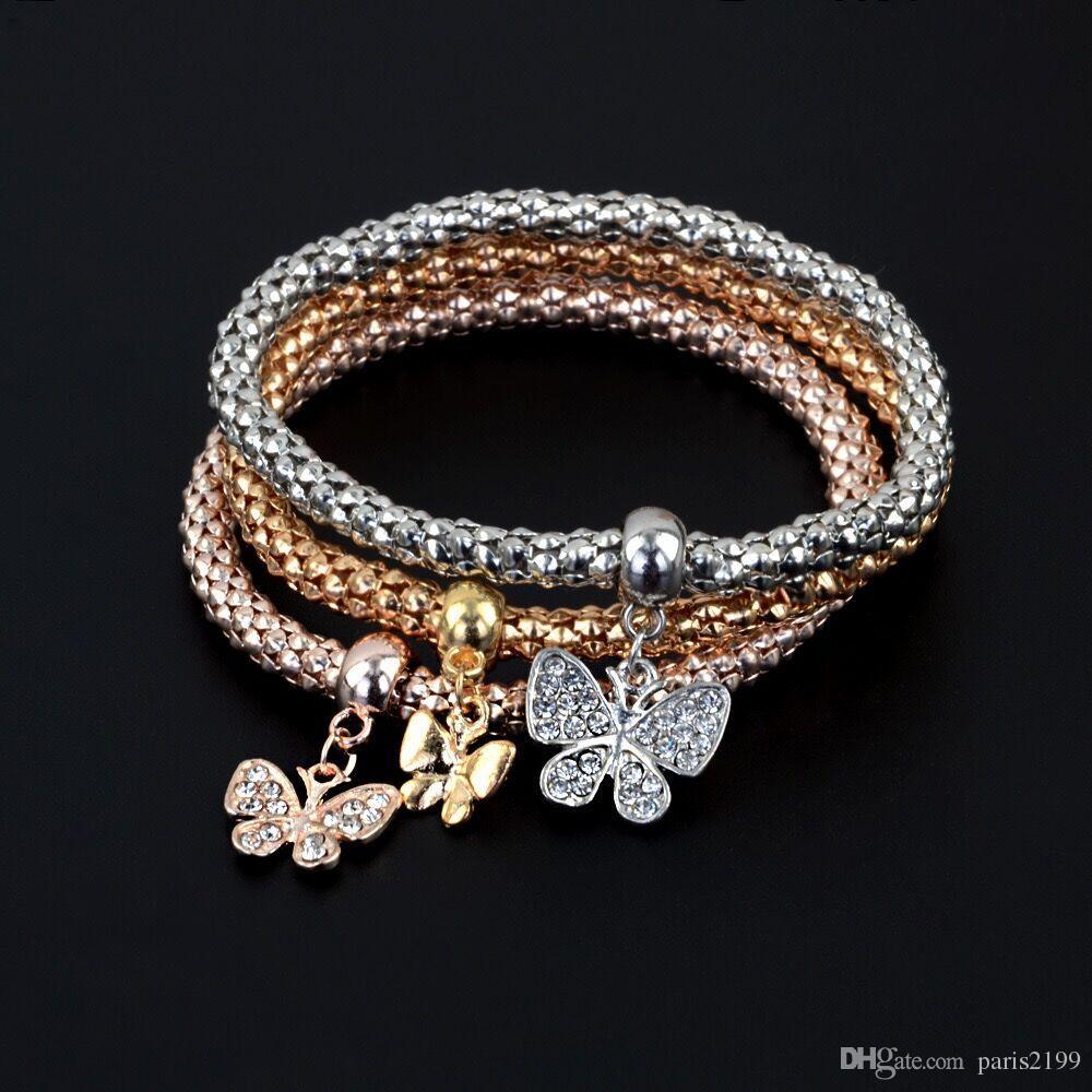 Hot Owl Crown Peace Tree Ancoraggio Timone Elefante Bracciale in cristallo Popcorn Tricolore Bracciale elastico vestito ciondolo cuore diamante lega elastica