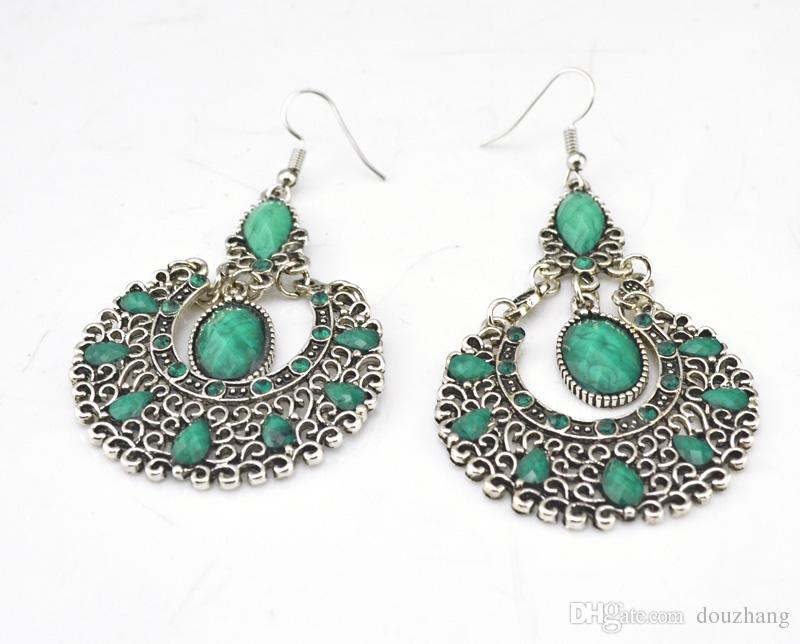 Boemia etnica retrò argento gemma strass vuoto rotondo orecchini gioielli all'ingrosso 10 coppie