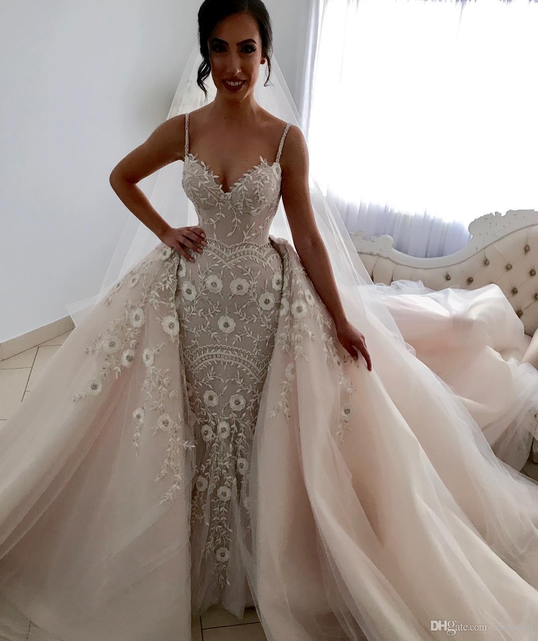2018 Luxury Mermaid Wedding Dresses Spaghetti Backless