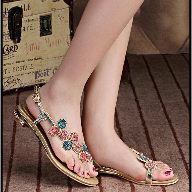 Grosshandel Bunte Strass Damen Sandalen Flip Flops Flachen Absatzen