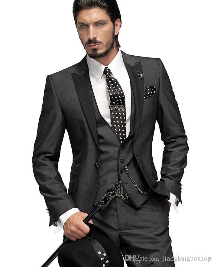 2015 vendita calda! Custom Made One Button Smoking dello sposo Smoking gli uomini Groomsman Suit Ragazzi Suit Jacket + Pants + Tie + Vest Sposo Suit