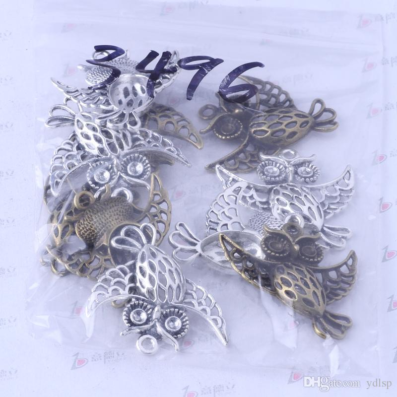 Hibou charmes antique en alliage argent / bronze zinc pendentif bricolage bijoux pendentif fit collier / 3496